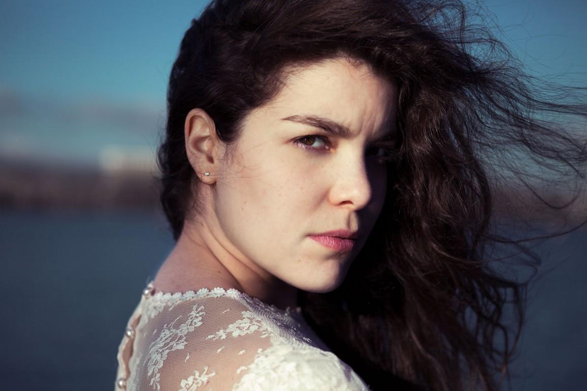 Simple portrait wind hair lace dress beautiful woman fashion model - Photographer in Berlin Geneva