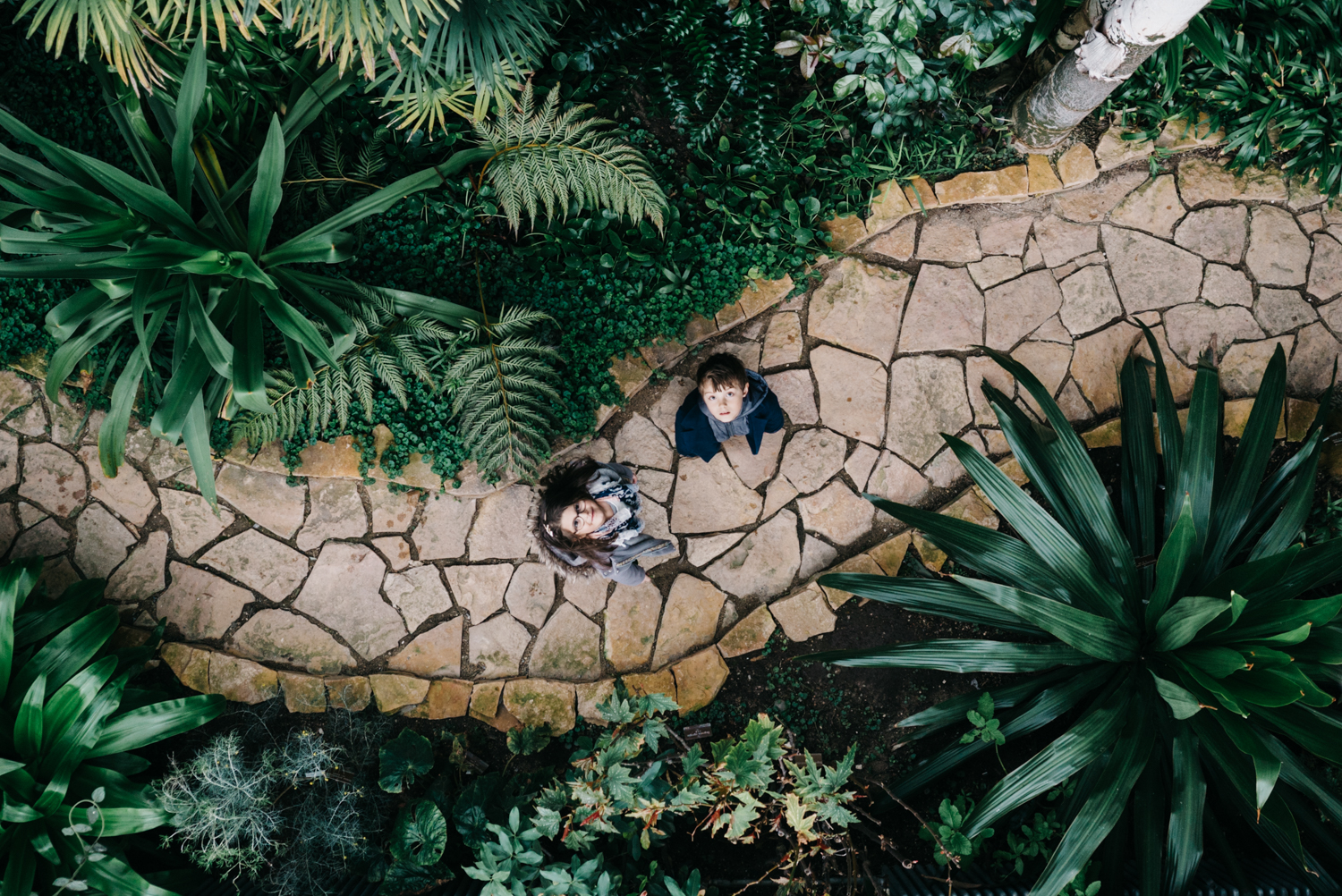 Original photo of kids from above - Family pictures in the botanical garden of Geneva