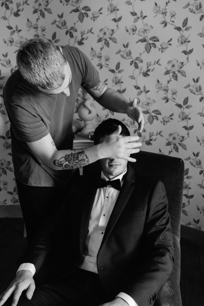 Groom getting his hair done - Sunny wedding in the countryside of Lyon