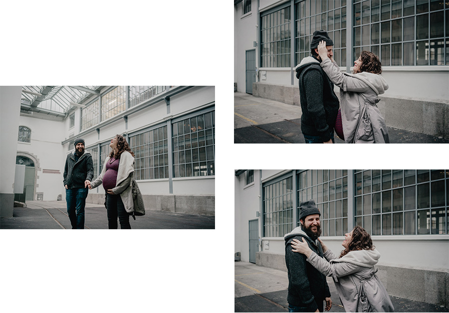 Natural urban pregnancy maternity couple laughing photosession in the city- Photographer in Berlin Geneva