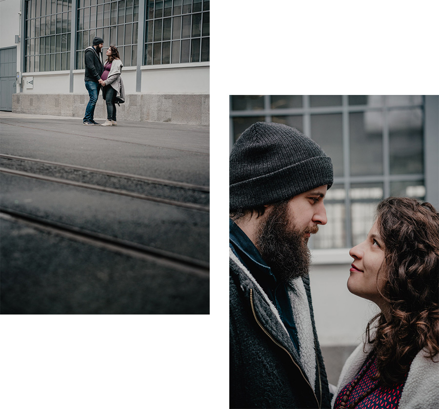 Natural urban pregnancy maternity couple cute portrait photosession in the city- Photographer in Berlin Geneva