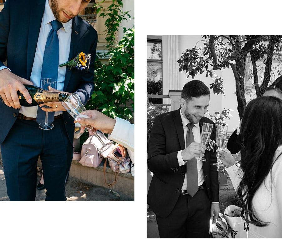 Champagne after the ceremony – Simple wedding in Berlin Standesamt Charlottenburg Wilmersdorf – Hochzeit Fotograf